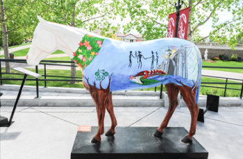 Calgary Counselling Centre's horse on display at Spruce Meadows